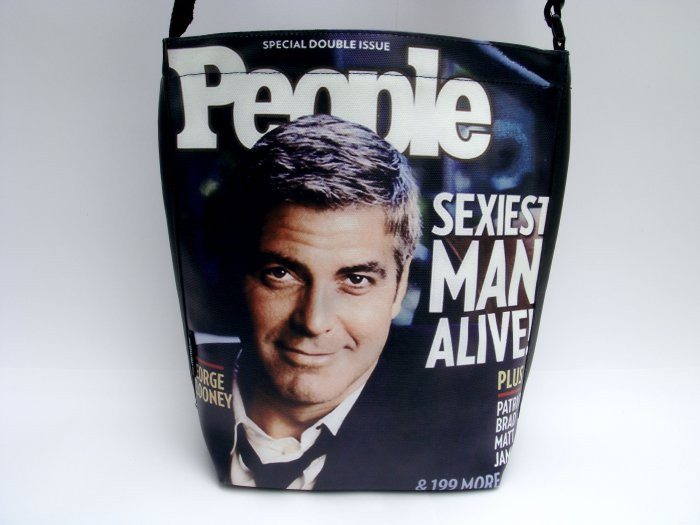 George Clooney People Magazine Large Messenger Bag Purse