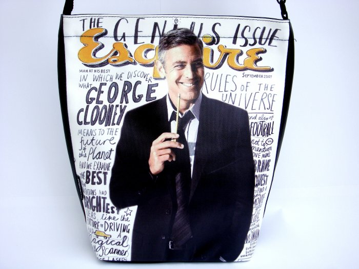 George Clooney Esquire Magazine Large Messenger Bag Purse