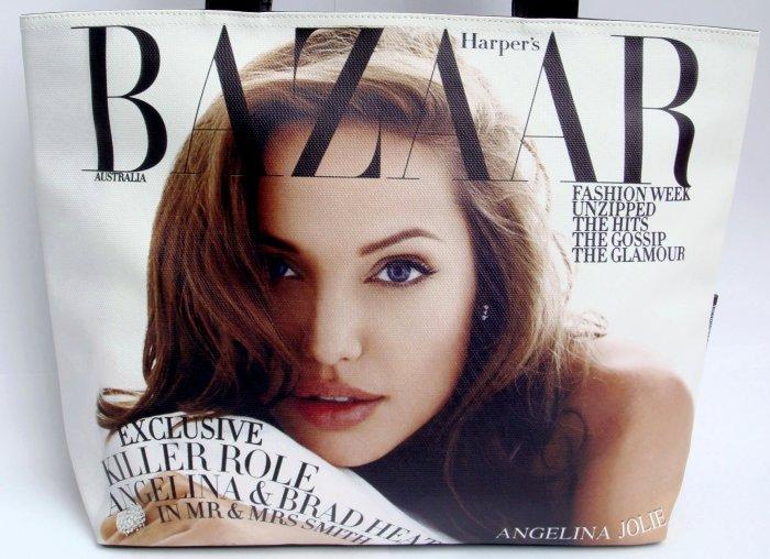 Angelina Jolie Bazaar Magazine Wide Tote Shoulder Bag Purse