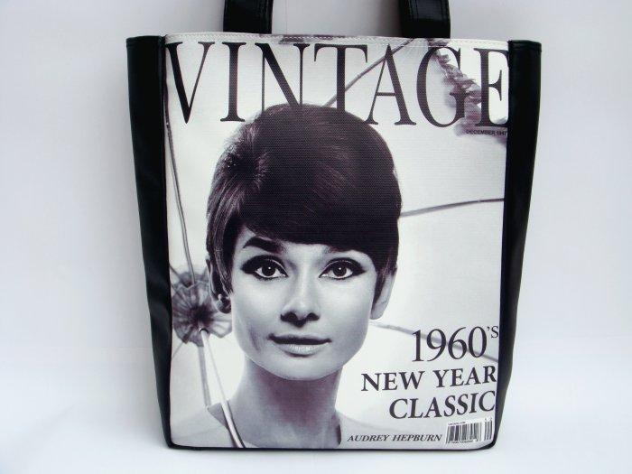 Audrey Hepburn Vintage 1960's Large Tote Shoulder Bag Purse