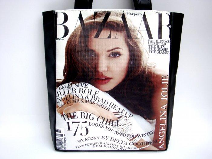 Angelina Jolie Bazaar Magazine Large Tote Shoulder Bag Purse