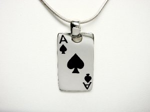 Sterling Silver Man's Ace of Spades Card Game Pendant