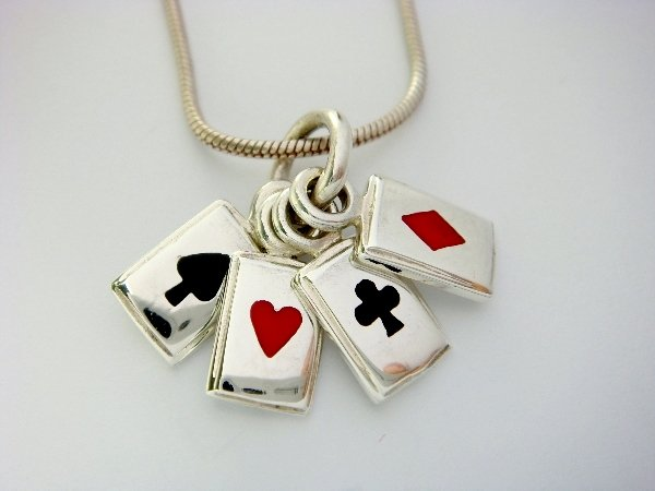 925 Sterling Silver Man's Lucky Poker Card Game Pendant