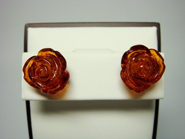925 Sterling Silver Stud Earrings Set Rose Flower Amber