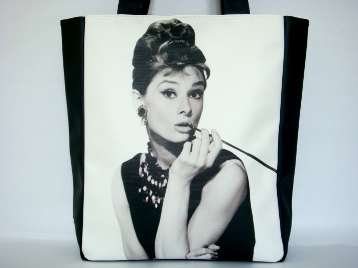 Audrey Hepburn Breakfast At Tiffanys Large Tote Bag Purse