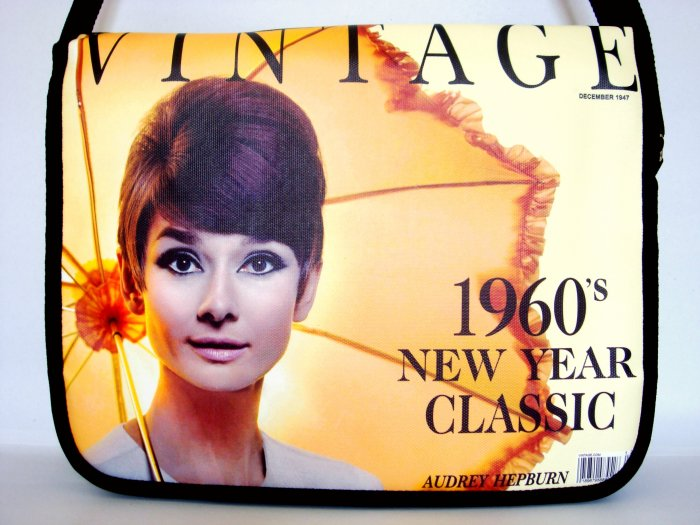 "Audrey Hepburn Vintage 1960s 15"" Laptop Notebook Shoulder Case Bag"