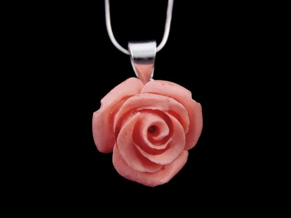 925 Sterling Silver Pendant Coral Pink Rose Flower