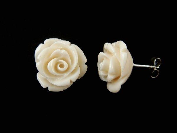 925 Sterling Silver Stud Earrings Flower Coral White Rose