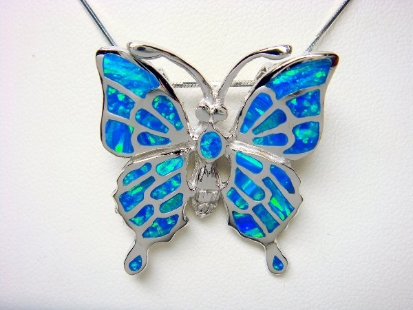 925 Sterling Silver Hawaiian Blue Opal Butterfly Brooch Pin Pendant