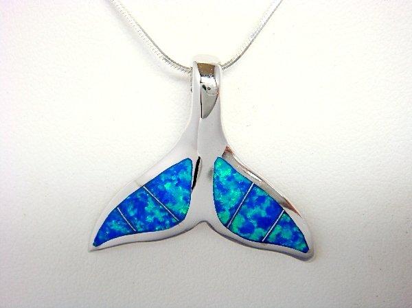 925 Sterling Silver Pendant Hawaiian Blue Opal Whale Tail