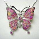 925 Sterling Silver Pink Inlay Opal Monark Butterfly Pendant