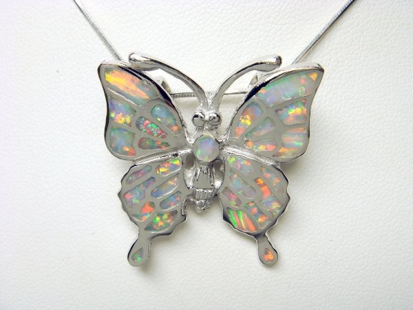 925 Sterling Silver Pendant Hawaiian Red Green Opal Big Butterfly Monark