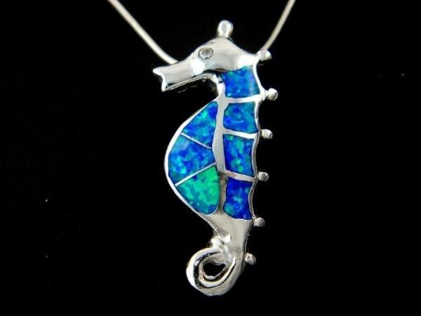 925 Sterling Silver Pendant Hawaiian Blue Opal Seahorse