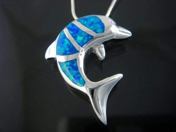 925 Sterling Silver Pendant Hawaiian Blue Opal Dolphin