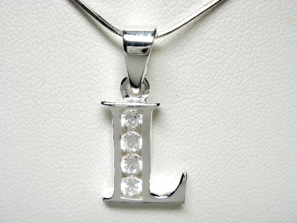 925 Sterling Silver CZ Initial Letter L Charm Pendant