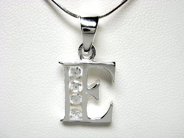 925 Sterling Silver CZ Initial Letter E Charm Pendant