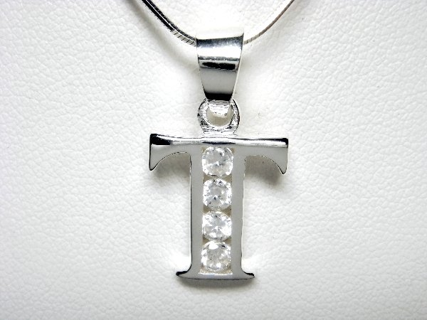 925 Sterling Silver CZ Initial Letter T Charm Pendant