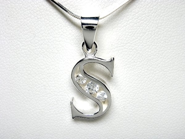 925 Sterling Silver CZ Initial Letter S Charm Pendant