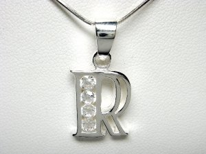 925 Sterling Silver CZ Initial Letter R Charm Pendant
