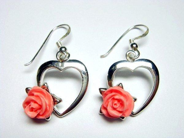 925 Sterling Silver Dangle Heart Earrings Coral Pink Rose