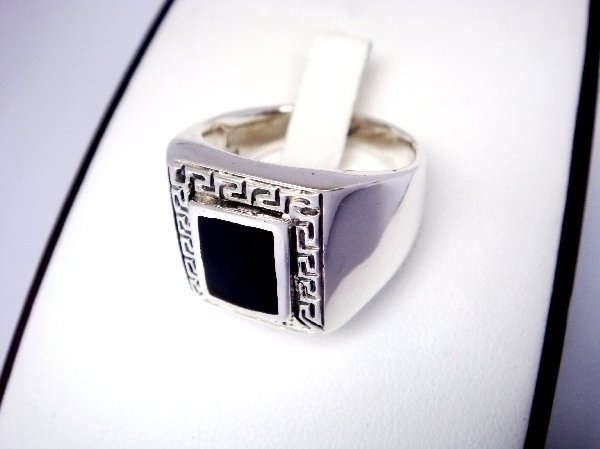 925 Sterling Silver Mens Rectangle Onyx Greek Key Ring