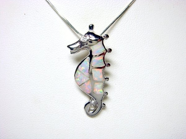 925 Sterling Silver Pendant White Opal Sea Seahorse