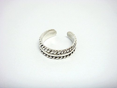 925 Sterling Silver Double Band Twist Adjustable Toe Ring