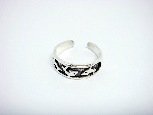 925 Sterling Silver Dolphins Oxidized Adjustable Toe Ring
