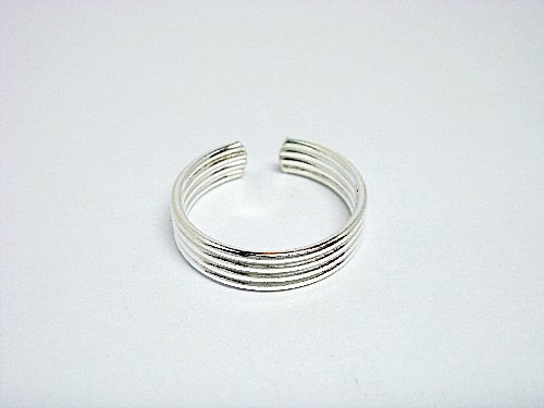 925 Sterling Silver Classic Bands Adjustable Toe Ring