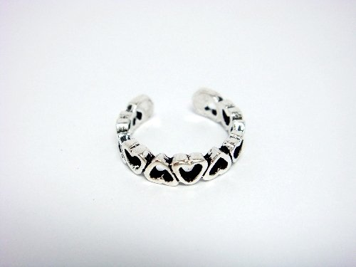 925 Sterling Silver Open Hearts Oxidize Adjustable Toe Ring