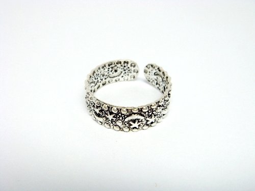 Sterling Silver Celestial Star Moon Oxidized Toe Ring