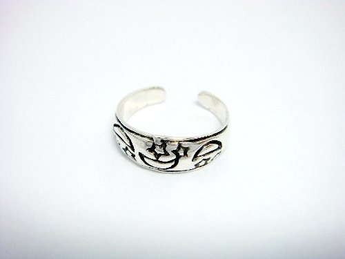 925 Sterling Silver Stars Moon Oxidized Adjustable Toe Ring