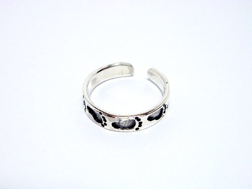 925 Sterling Silver Footsteps Oxidized Adjustable Toe Ring