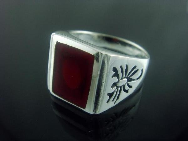 925 Sterling Silver Mens Carnelian Engraved Scorpion Zodiac Ring