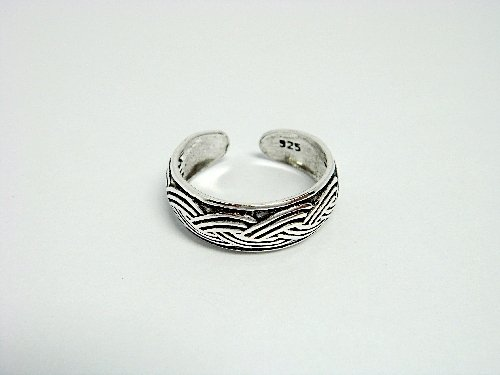 925 Sterling Silver Woven Band Oxidized Adjustable Toe Ring