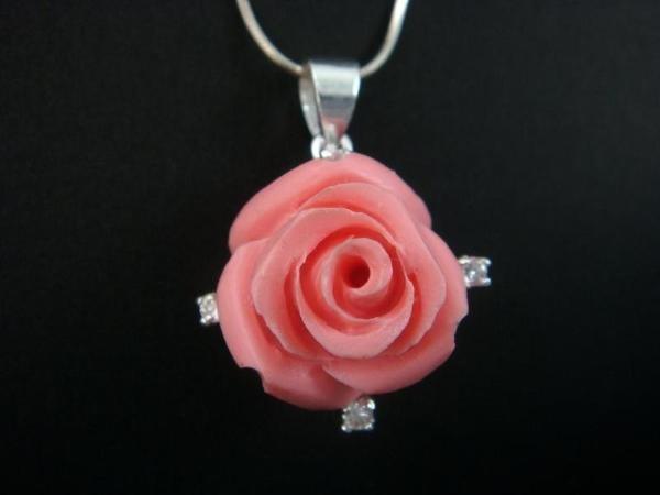 925 Sterling Silver Pendant Pink Rose Flower Leaf Coral CZ