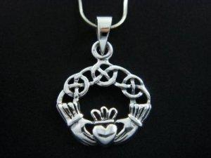 925 Sterling Silver Celtic Irish Claddagh Charm Pendant