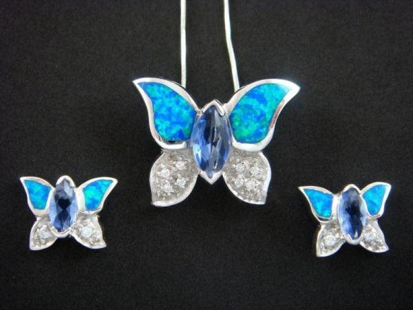 925 Silver Earrings Pendant Set Hawaiian Opal Butterfly CZ