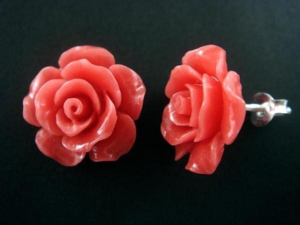 925 Sterling Silver Flower Rose Coral Stud Earrings Set