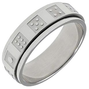 316L Surgical Stainless Steel Dice Spinner Ring Size 12