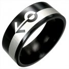 316L Black Polished Stainless Steel Gender Gay Pride Ring Size 6