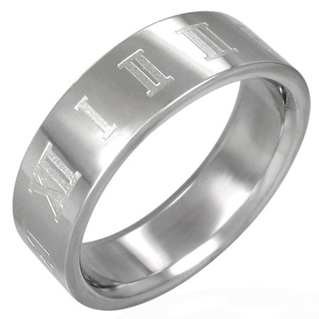 316L Stainless Steel Roman Numeral Band Ring