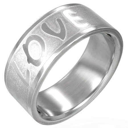 316L Stainless Steel Unisex Love Wedding Band Ring 7-12