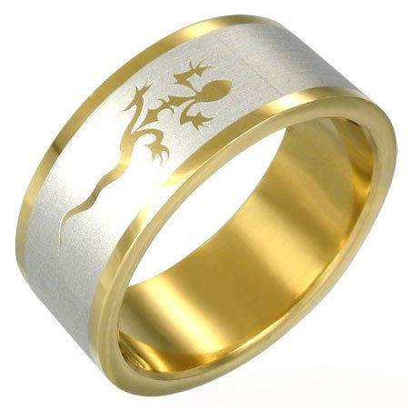 316L Gold Plated Stainless Steel Lucky Lizard Ring