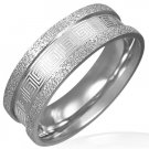 316L Stainless Steel Greek Key Meander Sandblasted Napkin Ring