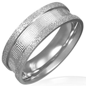 316L Stainless Steel Greek Key Meander Sandblasted Napkin Ring