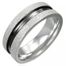 316L Stainless Steel 2-Tone Sandblasted Flat Band Fashion Ring