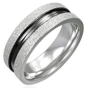 316L Stainless Steel 2-Tone Sandblasted Flat Band Fashion Ring