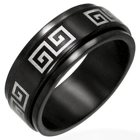 316L Black Polished Stainless Steel Greek Key Meander Spinner Ring
