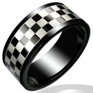 316L Black Polished Stainless Steel Checker Grid Design Ring